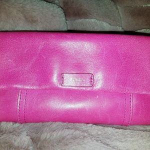 FOSSIL Leather Hot Pink Clutch Purse Wallett